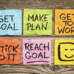 Set Goal, Make Plan, Get To Work, Stick To It, Reach Goal, Happy Face