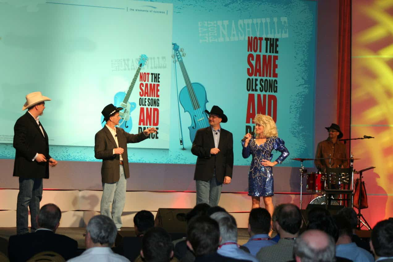 Corporate event with public speakers on stage. Public speaking is important for a conference success.