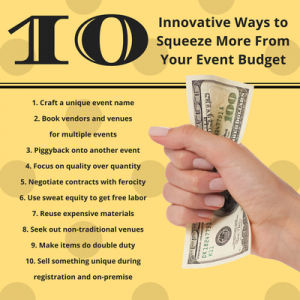 """Search the Internet for the phrase """"event planning challenges"""" and you will find countless surveys and lists that name reduced event budget or budgets cuts"""