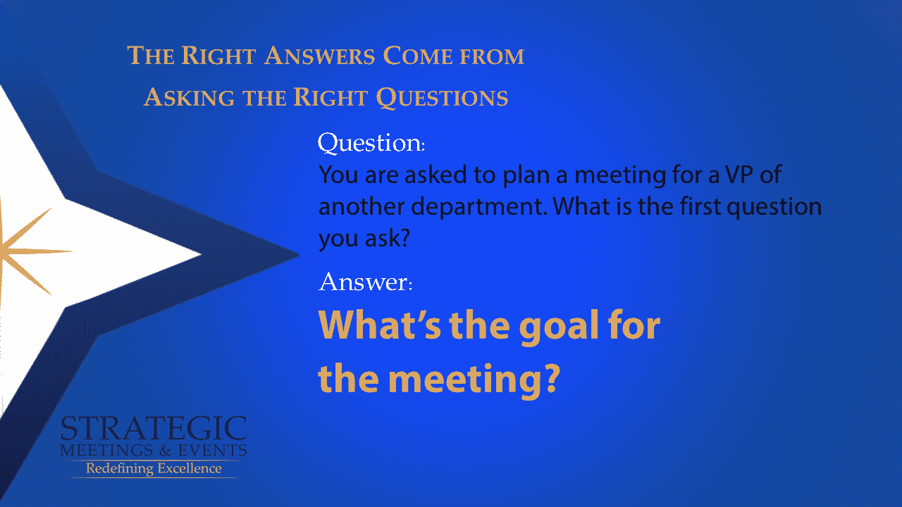 You are asked to plan a meeting for a VP of another department. What is the first question you ask