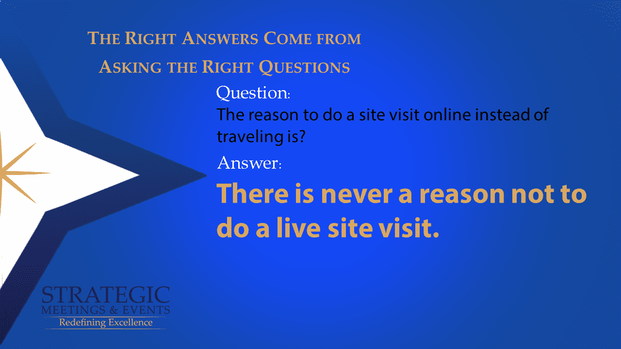The reason to do a site visit online instead of traveling is