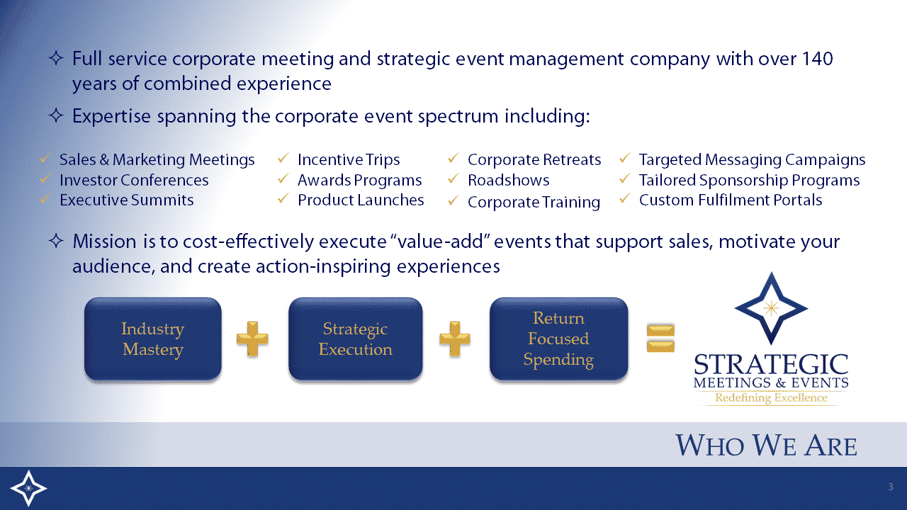 Full service corporate meeting and strategic event management company
