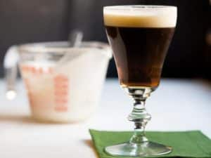 Irish coffee was invented and named by a chef named, Joe Sheridan. Upon meeting a group of American passengers who had just disembarked from a boat trip on a frigid winter evening, Sheridan added whiskey to their coffee to warm them. When asked if they were being served Brazilian coffee, Sheridan told them it was